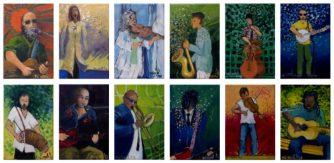 "Musicians 12 series. 15""x 37"" (each musician is 5""x 7""), Oil on canvas"