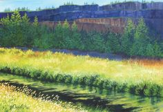 """Smith Rocks - Crooked River. 26""""x 38"""", Oil on canvas"""