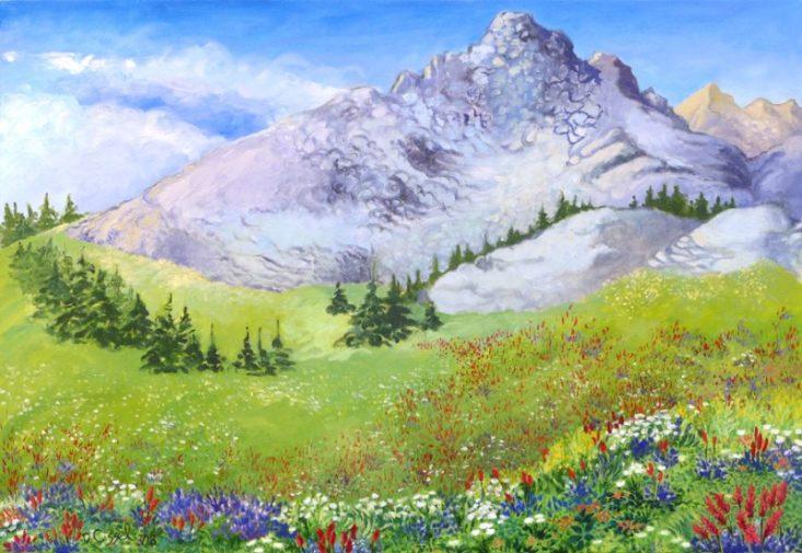 "Teton Wildflowers. 26""x38"", Oil on canvas"