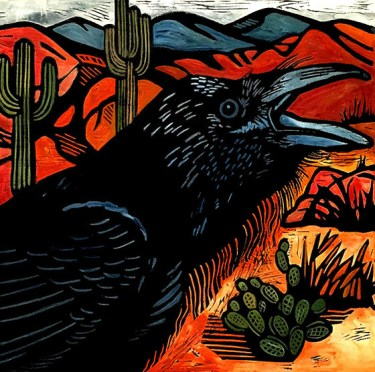 Raven in the Desert, Hand-colored linocut, 13X13 inches