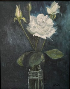 "Last Rose, Oil on canvas, 8""x10"""