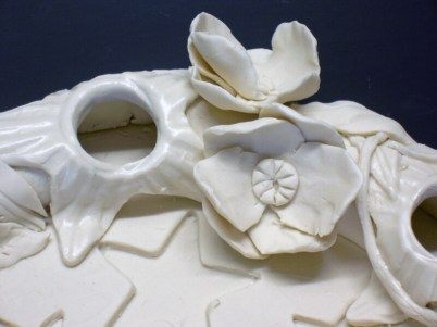 """Poppies Porcelain Wreath"", Closeup, Cone 6 porcelain, handbuilt, 11"" diameter"