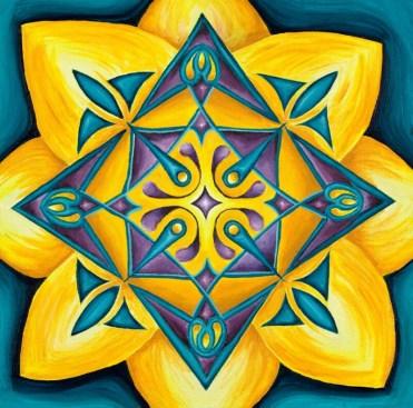 "Lotus Mandala, acrylic on canvas, 14""x14"""