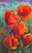 """Red Poppies"", Pastel, 6"" X 9"""