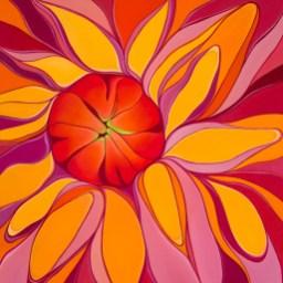 """""""Dahlia"""" 24x24 oil on canvas"""