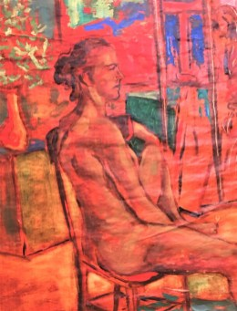 """""""Lady on a Bag in Orange"""", Watercolor mix on brown paper bag 30""""X24""""X1"""""""