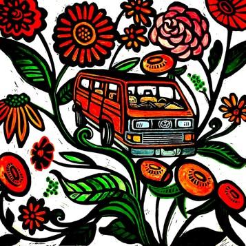 Magic Bus, hand-printed, hand-colored linocut, Laurel Macdonald
