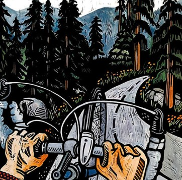 Mountain Biking, hand-printed, hand-colored linocut, Laurel Macdonald