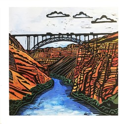 Perrine Bridge, hand-printed, hand-colored linocut, Laurel Macdonald