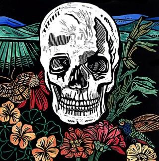 Skull, hand-printed, hand-colored linocut, Laurel Macdonald