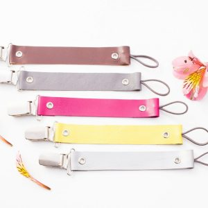 Flat leather pacifier clips