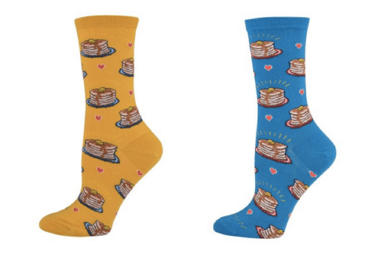 Pancakes socks in blue and buttery yellow!