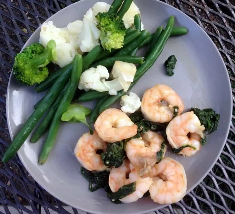 shrimp and spinach dinner