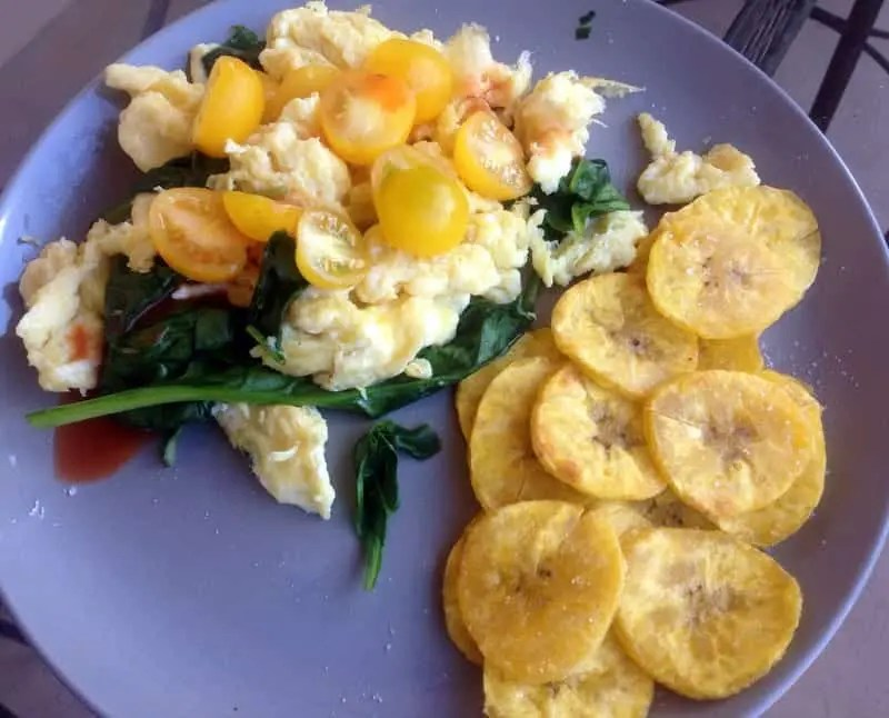Scrambled Eggs with Spinach, Cherry Tomatoes and Plantains    Treble in the Kitchen