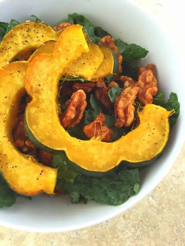 Kale Salad with Acorn Squash and Spiced Walnuts from Treble in the Kitchen