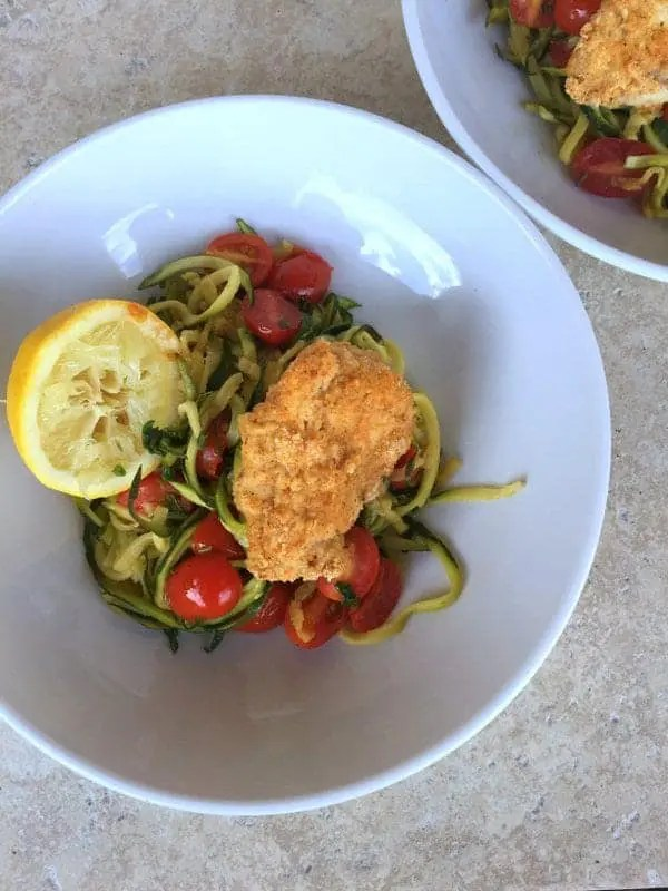 Zoodles with Almond chicken