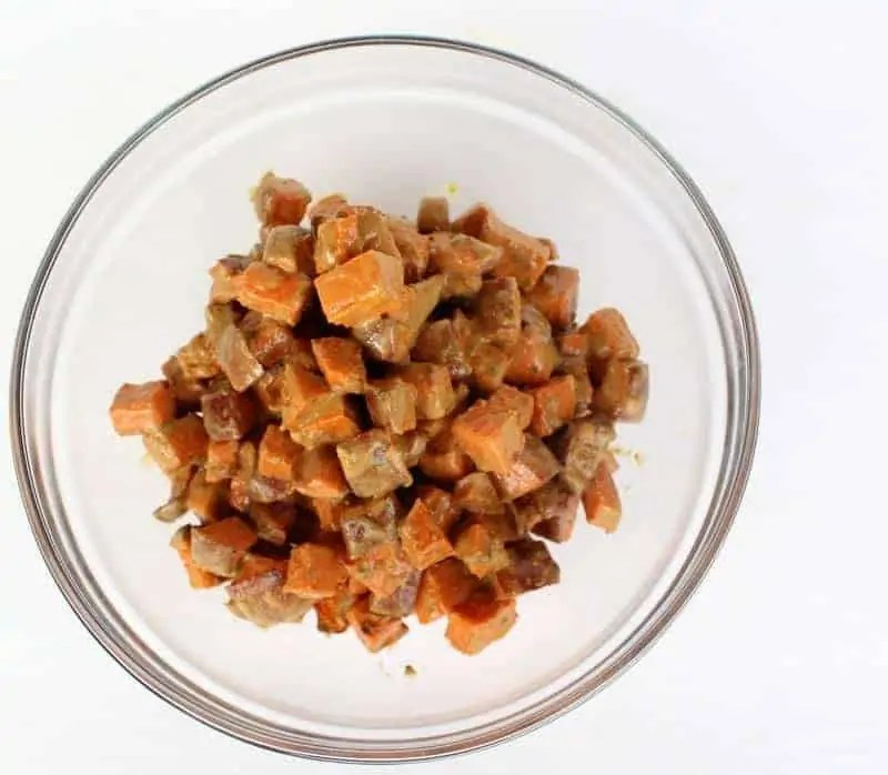 Roasted Sweet Potato Salad with Mint Sunflower Dressing
