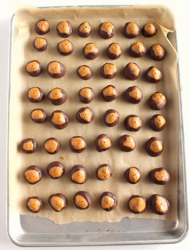 Healthy Peanut Butter Buckeyes low FODMAP, gluten free, grain free, dairy free