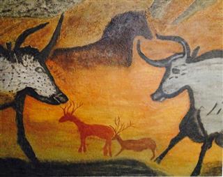 The Aurocks - Les aurochs - Grotte Lascaux - 48 in x 60 in x 1.5 in - 122 cm x 153 cm x 4 cm