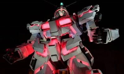 Estátua do Gundam Unicorn ficará dourada durante comemoração