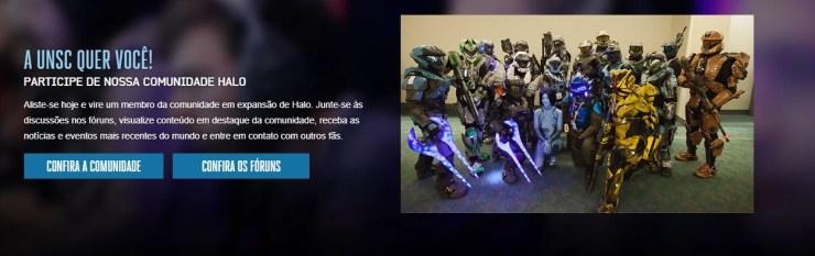 Site oficial de Halo no Brasil. Convite para participar da comunidade.