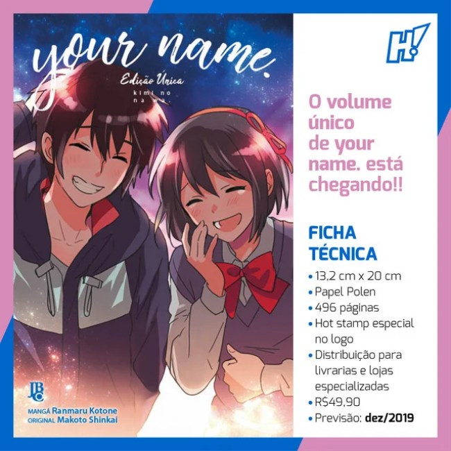 Editora JBC lançará edição única do mangá Your Name