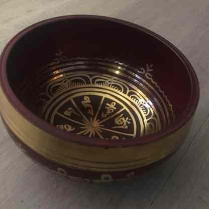 Red Blue Tibetan singing bowl