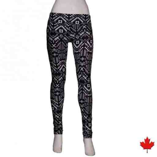 Geometric printed leggings made in Canada from bamboo fabric
