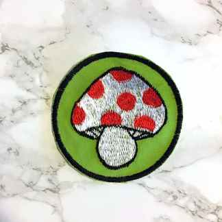 Embroidered Mushroom Patch Fair Trade Nepal 3-4inches