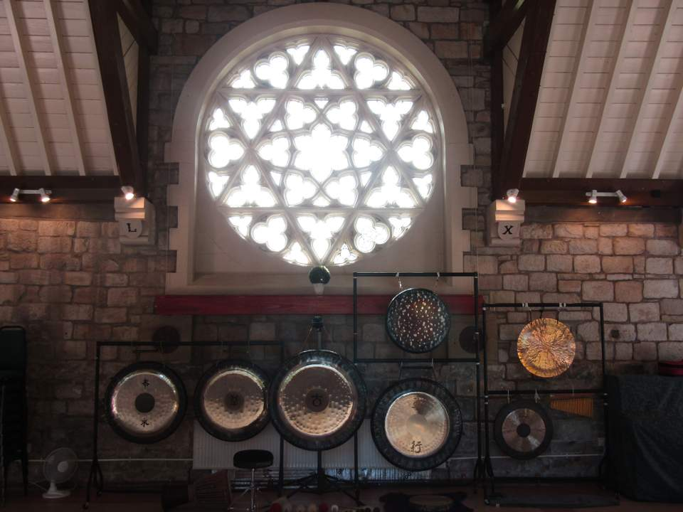 Gong bath setup at Fielden Centre in Todmorden, Oldham