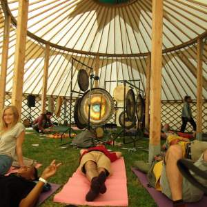 Gong bath session at We out here festival 2019 in cambridgeshire