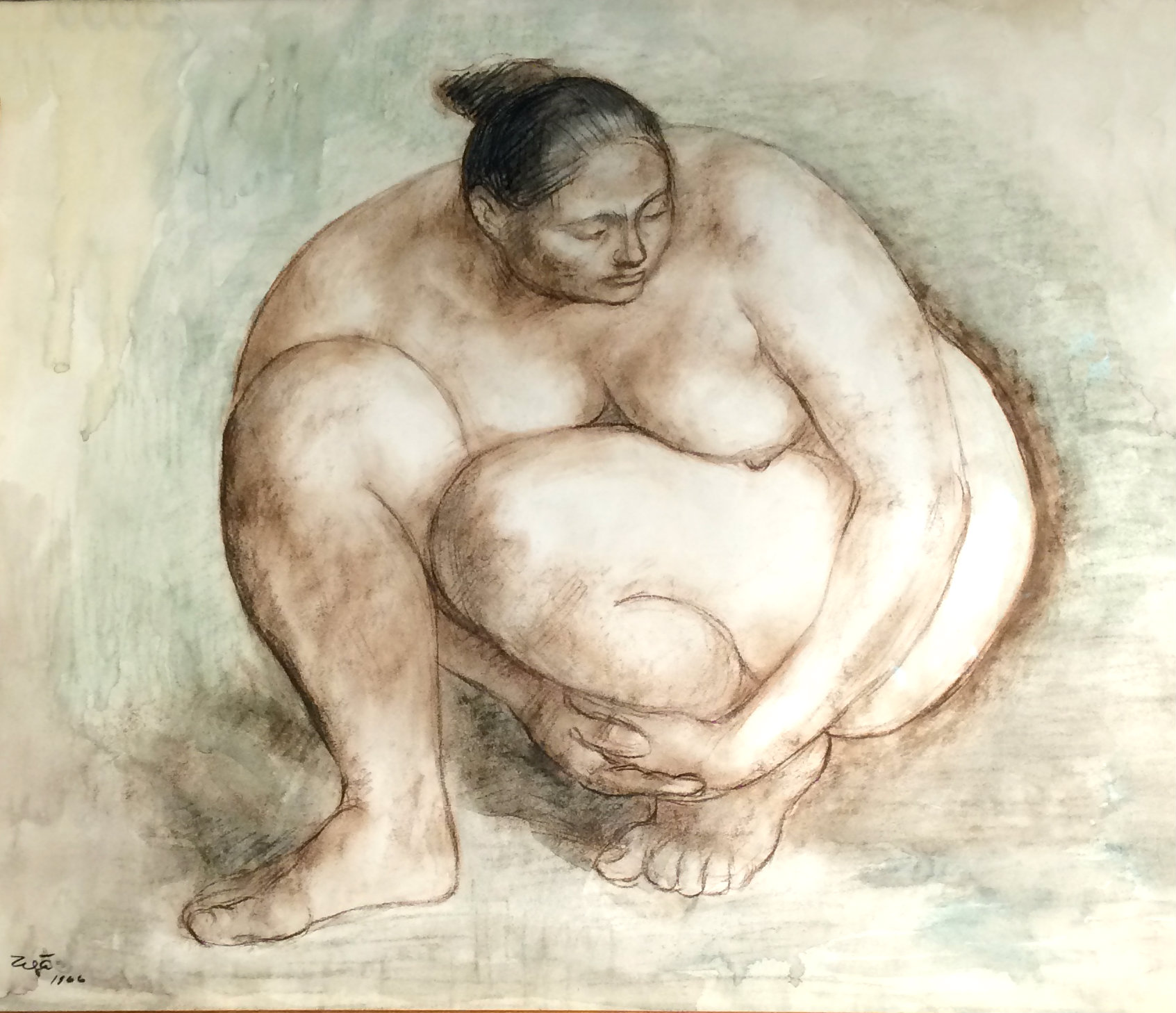 Crouching Nude by Francisco Zuniga (Costa Rica-Mexico, 1912-1998)