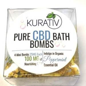 Kurativ CBD Bath Bomb, Peppermint, 100MG