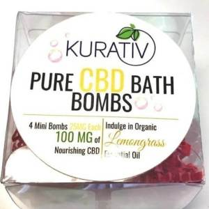 Kurativ CBD Bath Bomb,Lemongrass, 100MG