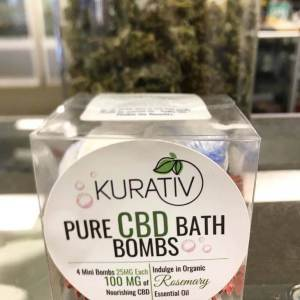 Kurativ CBD Bath Bomb, Rosemary, 100MG