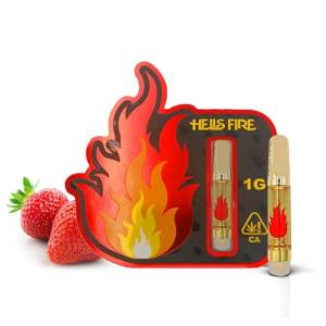 HELLS FIRE STRAWBERRY COUGH SATIVA FULL GRAM CANNABIS INFUSED CARTRIDGE