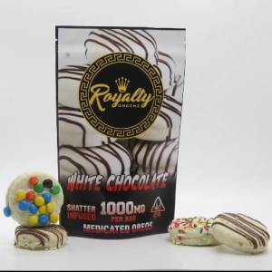 ROYALTY GREENZ 100MG WHITE CHOCOLATE SHATTER INFUSED MEDICATED OREOS
