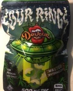 DEVOUR WASTED WATERMELON 500MG CANNABIS INFUSED SOUR RINGS