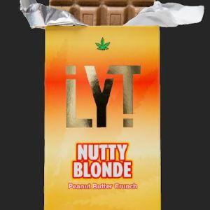 LYT NUTTY BLONDE PEANUT BUTTER CRUNCH 500MG THC 100% ORGANIC ALL NATURAL PREMIUM BELGIAN CHOCOLATE BAR
