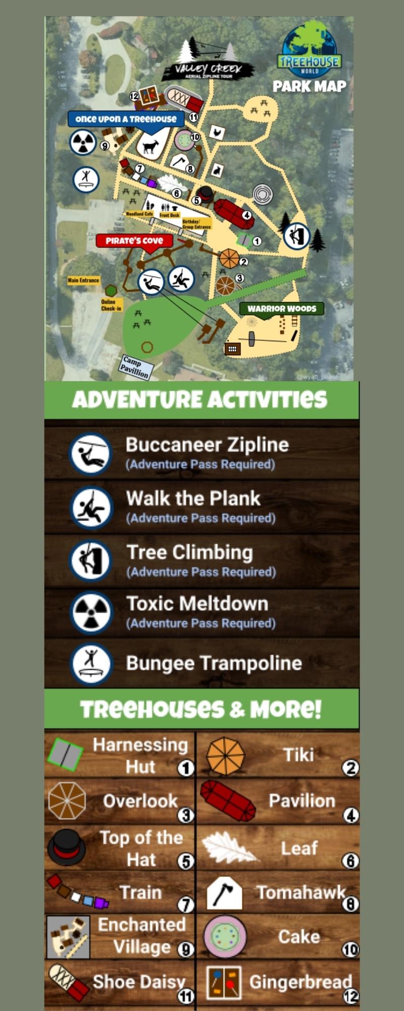 Treehouse World Adventure Park Map