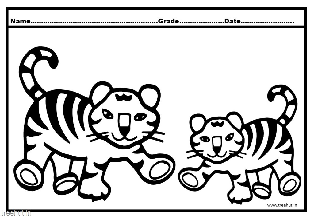 Tiger and Cub Coloring Pages for Kids