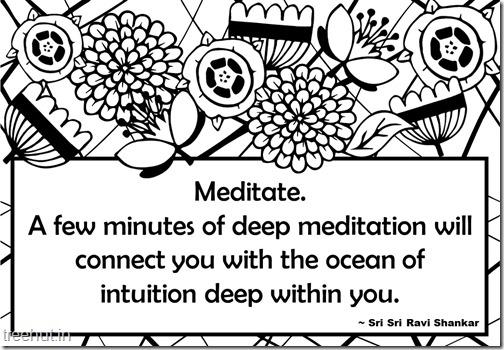 Meditation Quotes Coloring Pages by Sri Sri Ravi Shankar