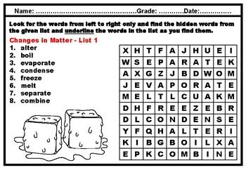 Kindergarten Science, Matter, Vocabulary, Word Search