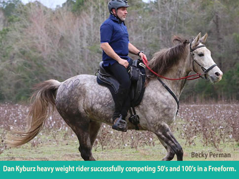 Dan Kybur, heavy weight rider, successfully competes 50-100 mile rides in a Freeform treeless saddle