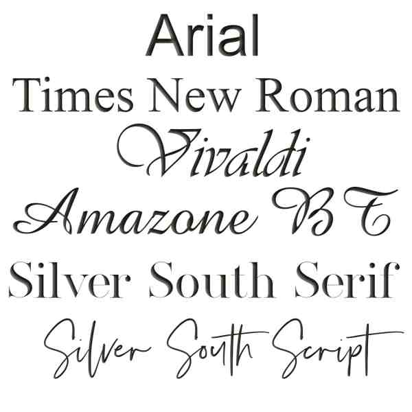 Tree of Opals Engraving Fonts Arial, Times New Roman, Vivaldi, Amazone BT, Silver South Serif and Silver South Script