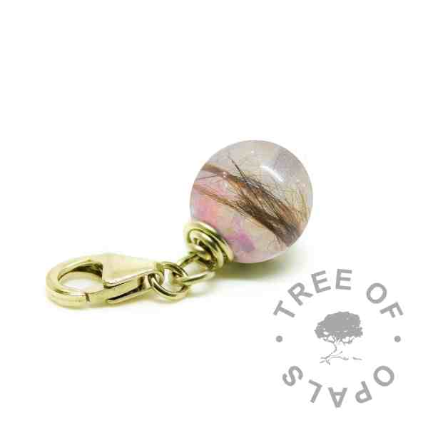 solid gold lock of hair pearl with fairy pink resin sparkle mix - gold fur charm for Thomas Sabo bracelets memorial jewellery