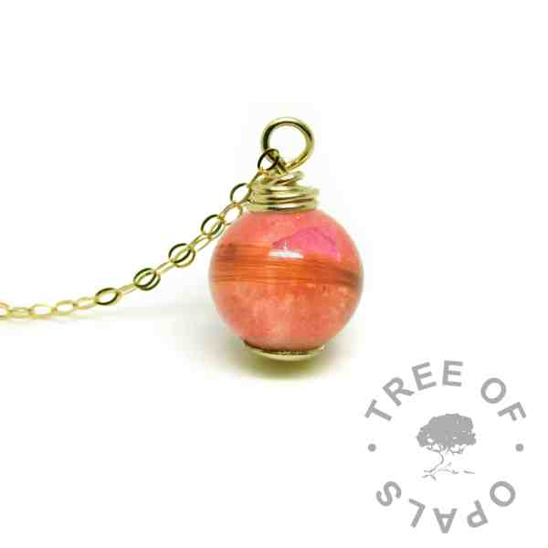 solid gold lock of hair pearl with dragon's blood read resin sparkle mix - gold hair necklace memorial jewellery