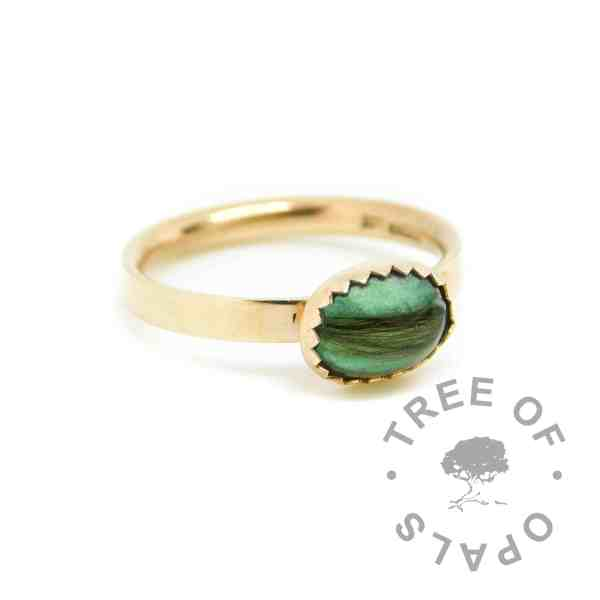 solid 14ct gold hair ring angelic aqua resin sparkle mix. Shiny solid gold band, hallmarked