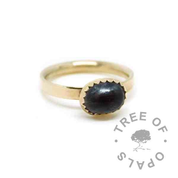gold lock of hair ring black. Vampire Black resin sparkle mix, solid 14ct hallmarked gold. Mockup