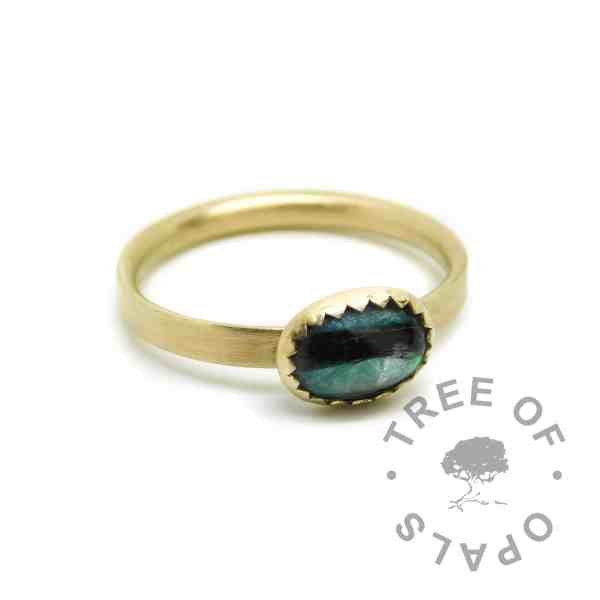 gold lock of hair ring teal. Solid hallmarked 14ct gold. Mermaid Teal Resin Sparkle Mix, brushed band. Mockup